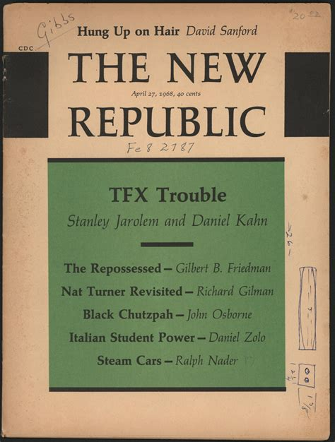 the dawning of american labor the new republic to the industrial age the american history series books ralph nader steam car article new republic april 27 1968