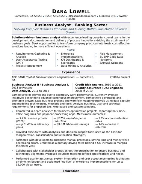 standard resume format for company business analyst resume sle