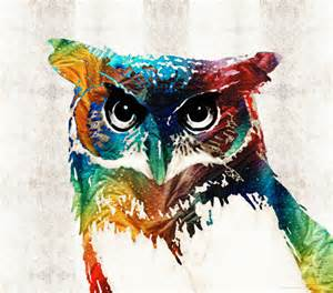 owl art print from painting cute bird colorful fun happy