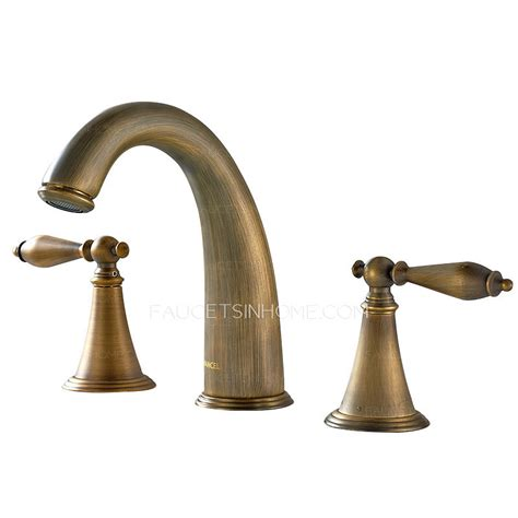 antique brass bathroom fixtures antique brass three holes brushed bathroom sink faucets