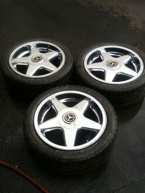 Mercedes Oem Rims by Oem Mercedes Chrome 5 Spoke Rims With Dunlop Tires Ebay