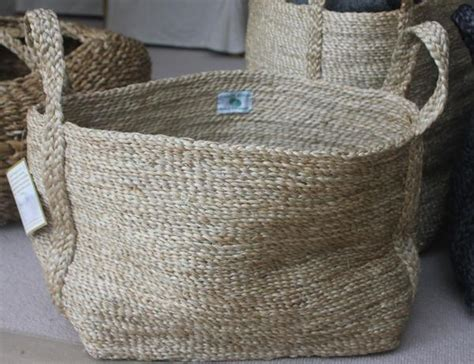 small rectangular jute basket natural  grey