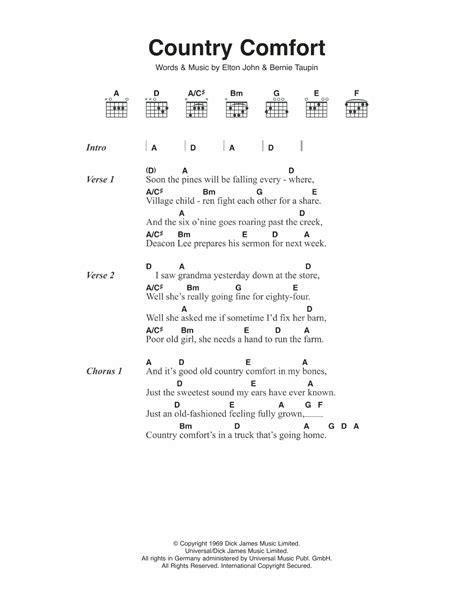 Country Comfort By Elton John Guitar Chords Lyrics