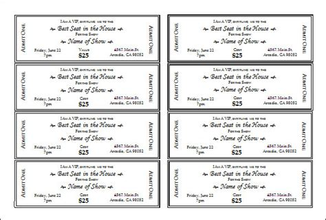 Ticket Template 23 Download Documents In Pdf Psd Free Ticket Templates 8 Per Page