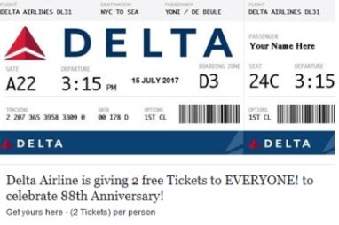 Delta Airlines Free Tickets Giveaway 2017 - delta airlines giving away free tickets on facebook scam
