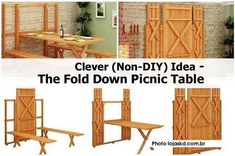 diy fold down table clever non diy idea the fold down picnic table