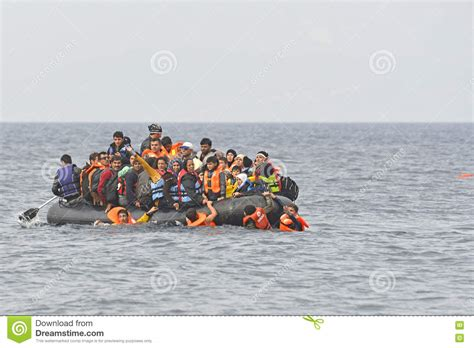 refugee boat price refugees in boat at sea lesvos greece editorial stock