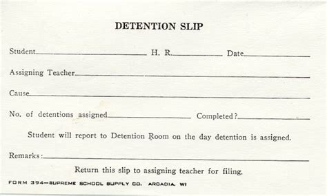 detention slips template notice referral schedule http www receipts