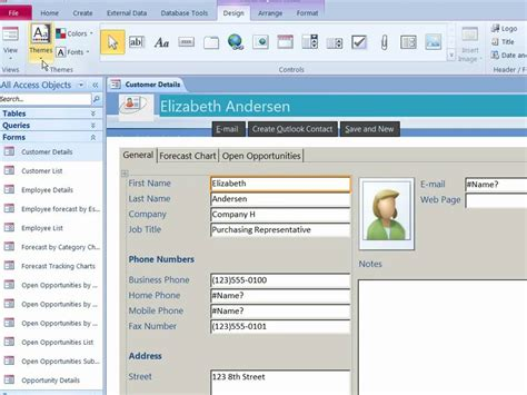 microsoft access themes 2010 use office themes to create professional looking reports