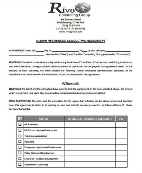hr consulting template 4 hr contract sles templates in pdf