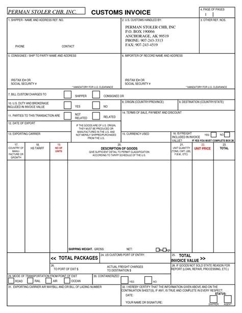 Us Customs Invoice Form Hardhost Info Form Of Invoice Template