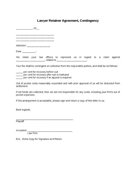contingency fee agreement template sle fee agreement letter attorney docoments ojazlink