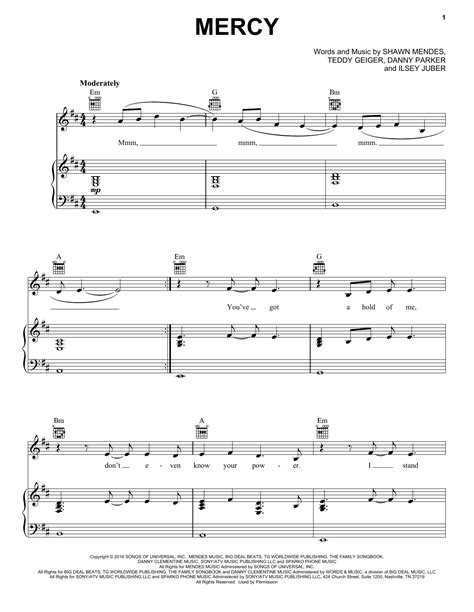 testo mercy mercy sheet by shawn mendes piano vocal guitar