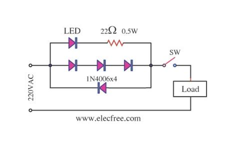 high voltage led indicator circuit simple led ac power indicator circuit eleccircuit