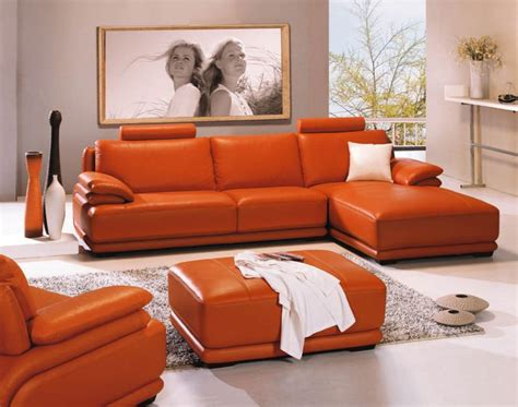 Orange Living Room Sets Bedroom Interesting Orange Contemporary Living Room Sets