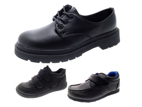 school shoes size 4 boys black faux leather school shoes lace up sports