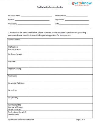 Free Exles Of Employee Evaluations Free Performance Review Template