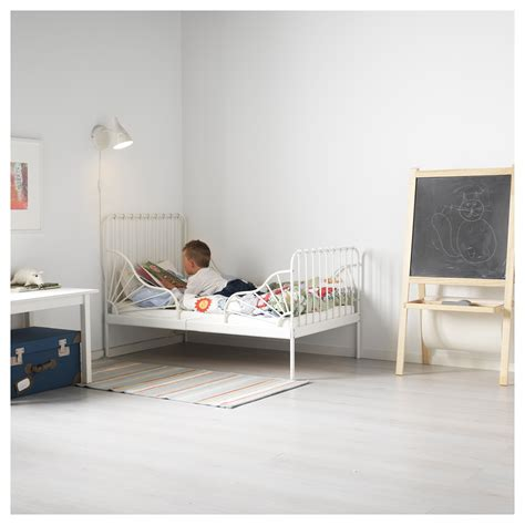 bed frame with slatted bed base minnen ext bed frame with slatted bed base white 80x200 cm