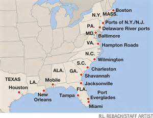 us east coast ports map us east coast gains 150 000 teu on west coast woes in 2014