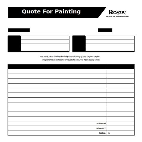 Painting Quote Template by 23 Ms Word 2010 Format Quotation Templates Free