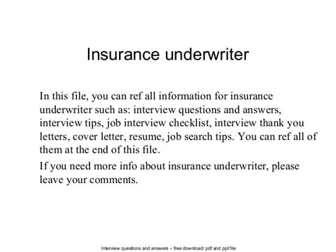 Insurance Cover Letter Underwriter Insurance Underwriter