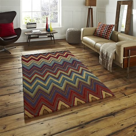 100 wool aztec rug tufted zigzag pattern heavyweight