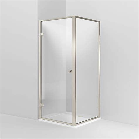 Hinged Shower Door With Side Panel by Arcade Hinged Shower Door Side Panel Nickel Various Size Options At Plumbing Uk