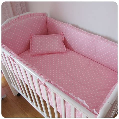 Unisex Cot Bedding Sets Promotion 6pcs Pink Point Baby Bedding Set Cotton Unisex Baby Nursery Cot Bedding Brand Crib