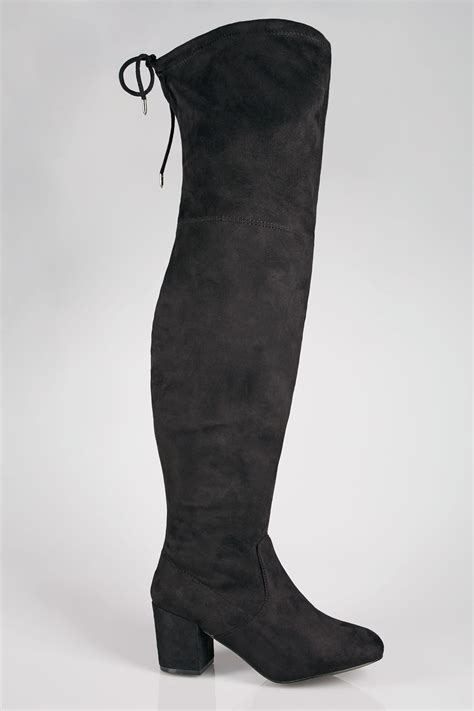 Can You Use A Mastercard Gift Card Online - black over the knee block heel boots with xl calf fitting in true eee fit
