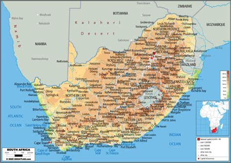 south africa physical map map of south africa political physical and road maps of