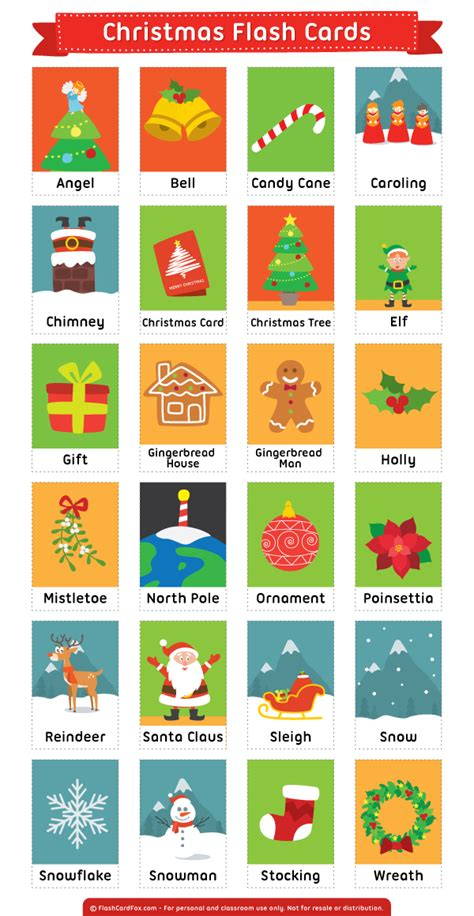 printable christmas flash cards printable christmas flash cards