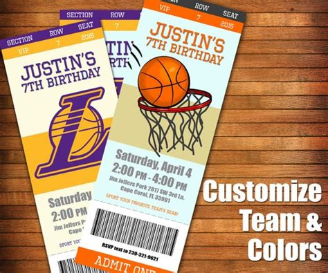 Basketball Invitation Basketball Game Ticket By Lilgiggs On Etsy Nba Ticket Template