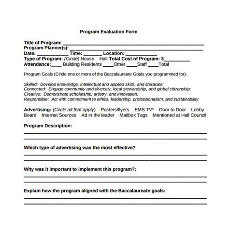 program evaluation template program evaluation form 7 free documents in