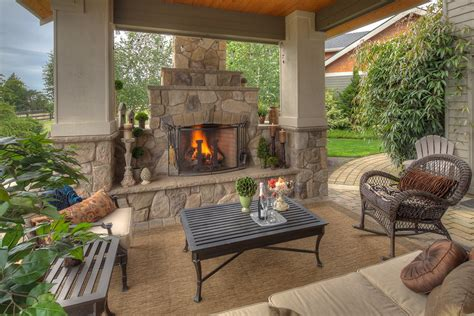 outdoor covered patio with fireplace ideas nameahulu