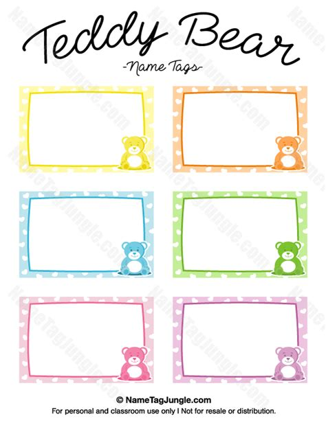 stuffed animal name card template printable teddy name tags