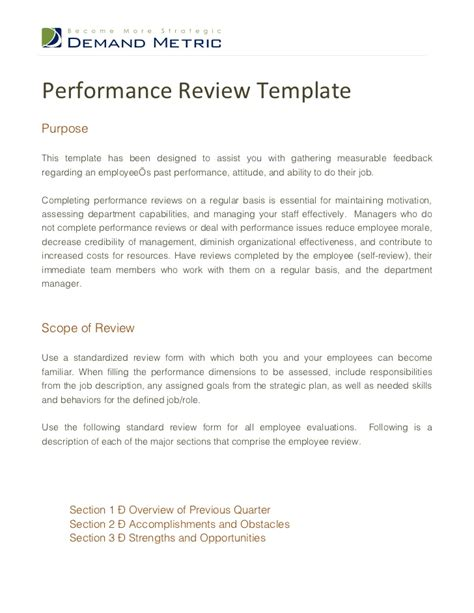 Evaluation Performance Letter Performance Review Template