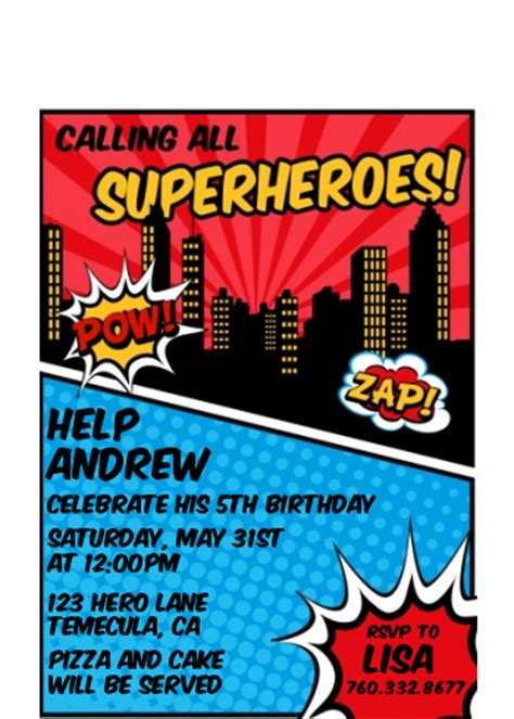 calling  superheroes birthday party petite invitations