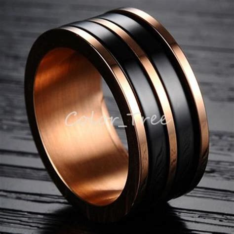 10mm Men's Black Ceramic Ring with Titanium Rose Gold