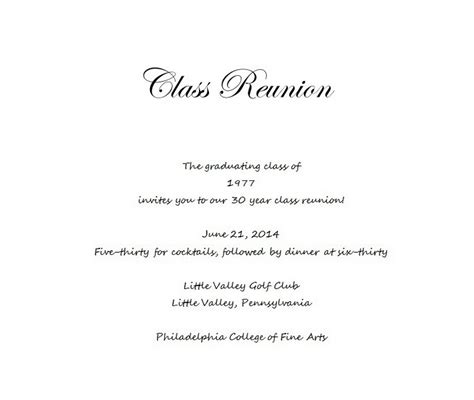 class announcement template class reunion invitation 5 wording free geographics word