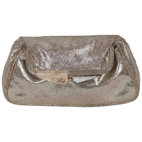 The Fendi Evening Bag by Fendi Metallic Leather Clutch Handbag Evening Bag Purse W