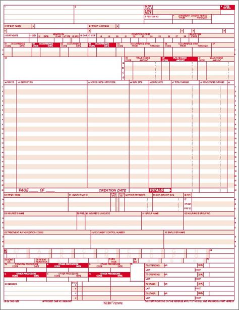 Ub 92 Form Images Search Hcfa 1500 Claim Form Ub