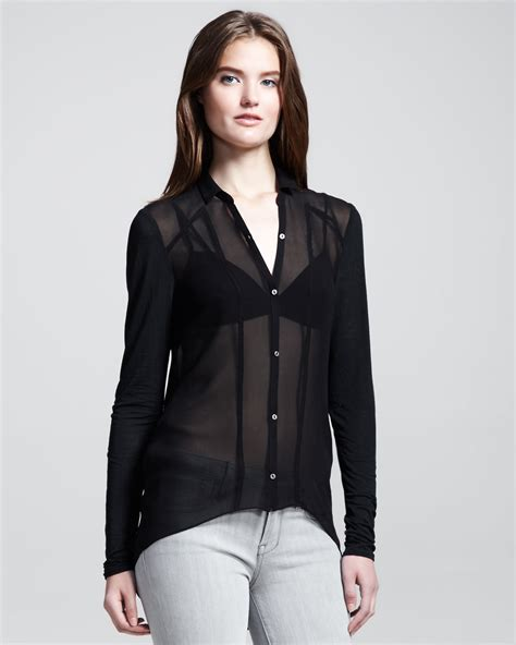 Sheer Black Blouse by Sheer Black Button Blouse Fashion Ql