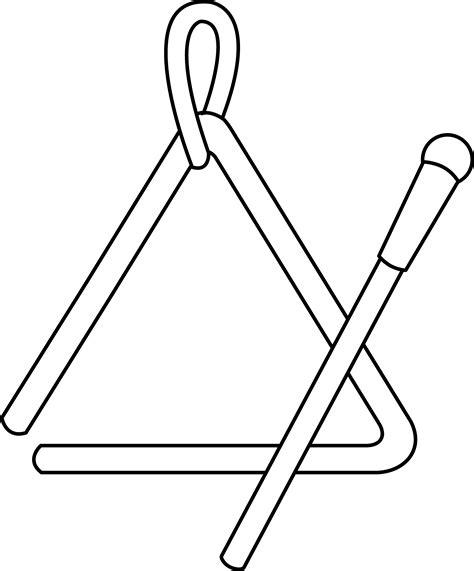 triangle instrument line art sketch template