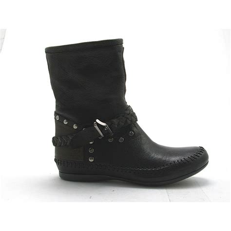 small or large ankle boot with studs in black and brown