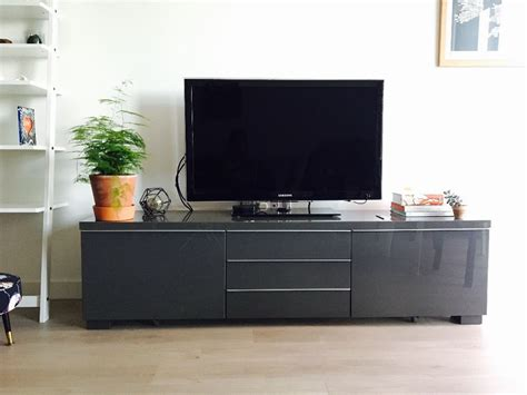besta burs tv unit tv media unit stand grey gloss finish with drawers