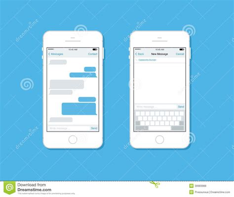 sms template iphone messaging and chatting on mobile phone vector template