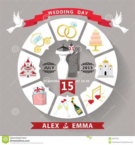 Wedding Invitation In Infographic Style Wedding Wear Stock Vector Illustration 42672708 Wedding Infographic Template