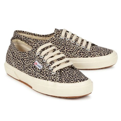 superga leopard print canvas trainers in animal beige lyst
