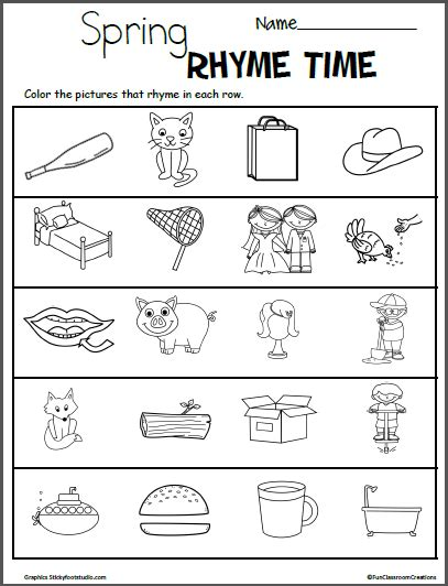 words that rhyme with colors color the rhymes worksheets madebyteachers
