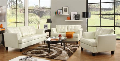 living room ideas with white leather couches homelegance della all bonded leather sofa set white